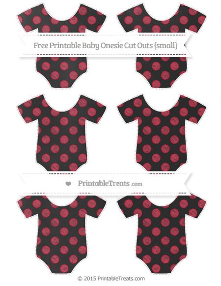 Free Cardinal Red Dotted Pattern Chalk Style Small Baby Onesie Cut Outs