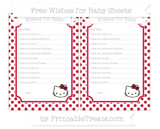 Free Cardinal Red Dotted Pattern Hello Kitty Wishes for Baby Sheets