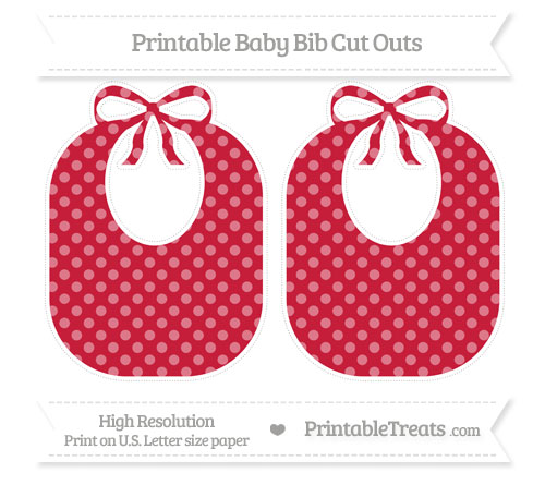 Free Cardinal Red Dotted Pattern Large Baby Bib Cut Outs