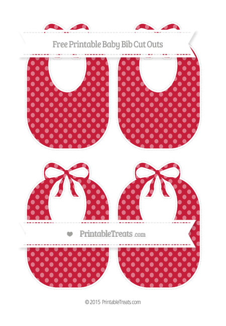 Free Cardinal Red Dotted Pattern Medium Baby Bib Cut Outs