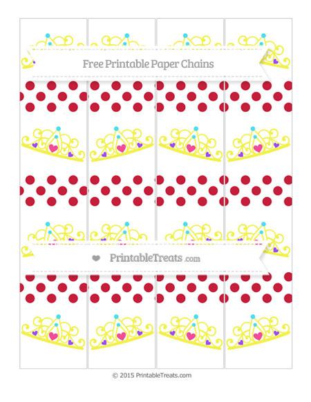 Free Cardinal Red Dotted Pattern Princess Tiara Paper Chains