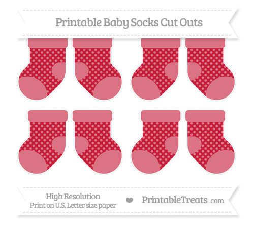 Free Cardinal Red Dotted Pattern Small Baby Socks Cut Outs
