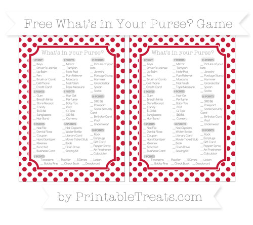 Free Cardinal Red Dotted Pattern What's in Your Purse Baby Shower Game