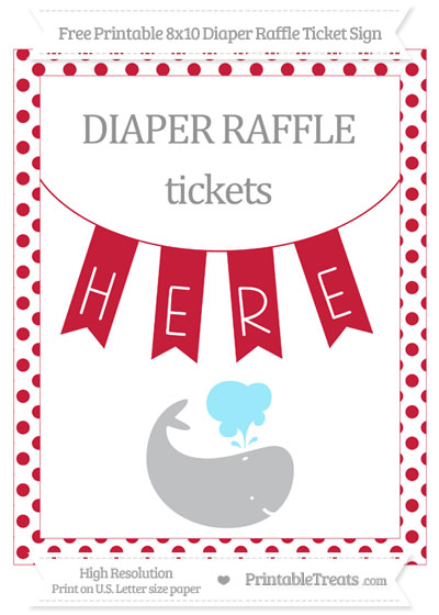 Free Cardinal Red Dotted Whale 8x10 Diaper Raffle Ticket Sign