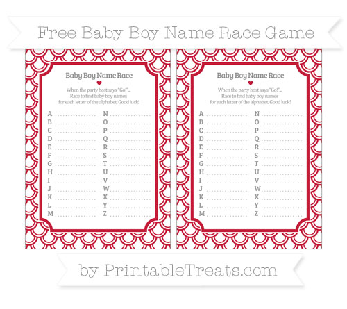 Free Cardinal Red Fish Scale Pattern Baby Boy Name Race Game