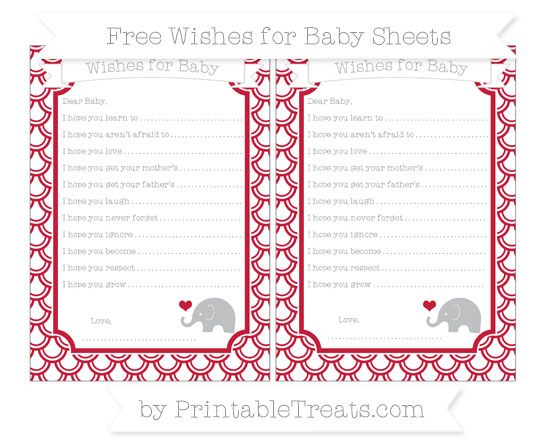 Free Cardinal Red Fish Scale Pattern Baby Elephant Wishes for Baby Sheets
