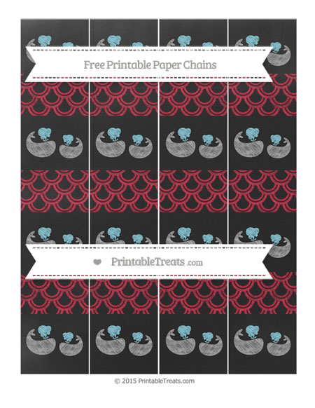 Free Cardinal Red Fish Scale Pattern Chalk Style Baby Whale Paper Chains