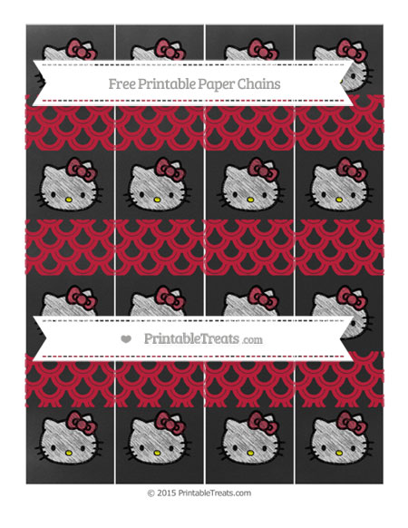 Free Cardinal Red Fish Scale Pattern Chalk Style Hello Kitty Paper Chains