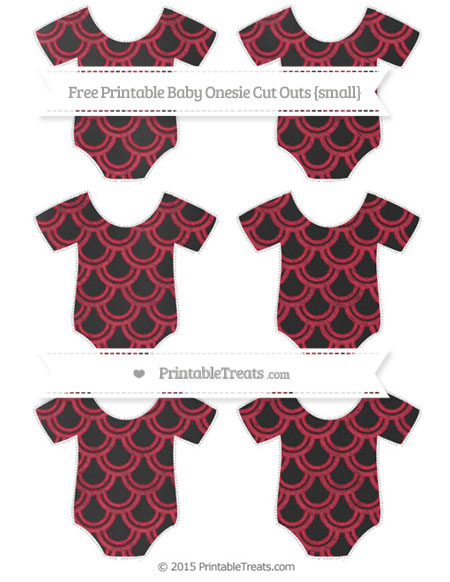 Free Cardinal Red Fish Scale Pattern Chalk Style Small Baby Onesie Cut Outs