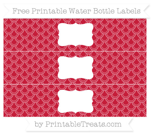 Free Cardinal Red Fish Scale Pattern Water Bottle Labels