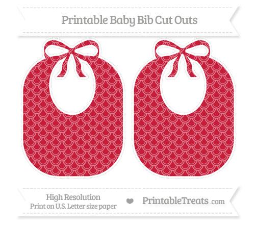 Free Cardinal Red Fish Scale Pattern Large Baby Bib Cut Outs