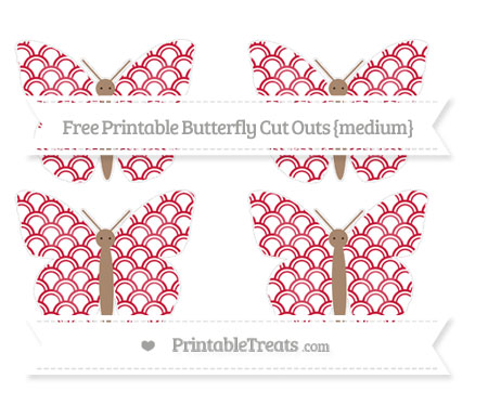 Free Cardinal Red Fish Scale Pattern Medium Butterfly Cut Outs