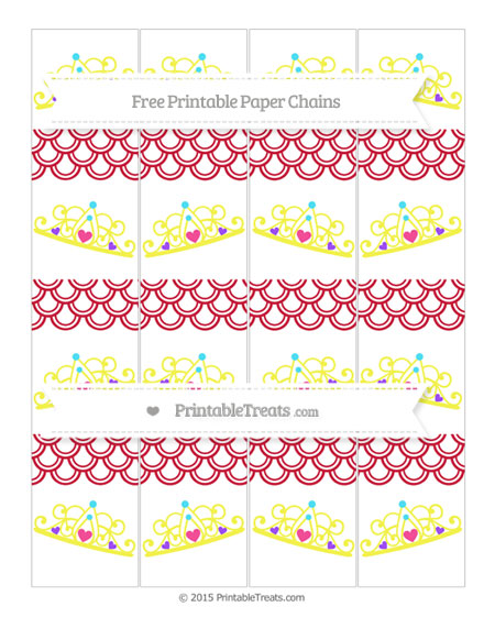 Free Cardinal Red Fish Scale Pattern Princess Tiara Paper Chains