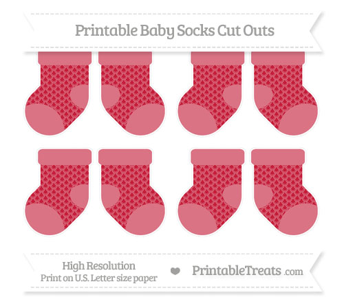 Free Cardinal Red Fish Scale Pattern Small Baby Socks Cut Outs