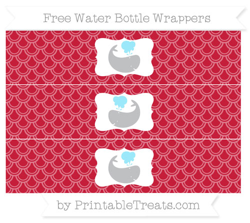Free Cardinal Red Fish Scale Pattern Whale Water Bottle Wrappers