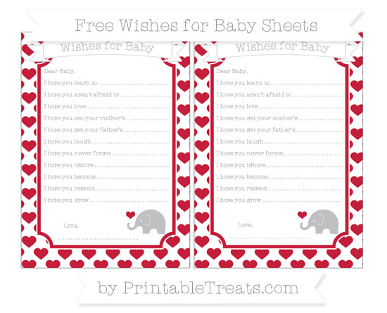 Free Cardinal Red Heart Pattern Baby Elephant Wishes for Baby Sheets