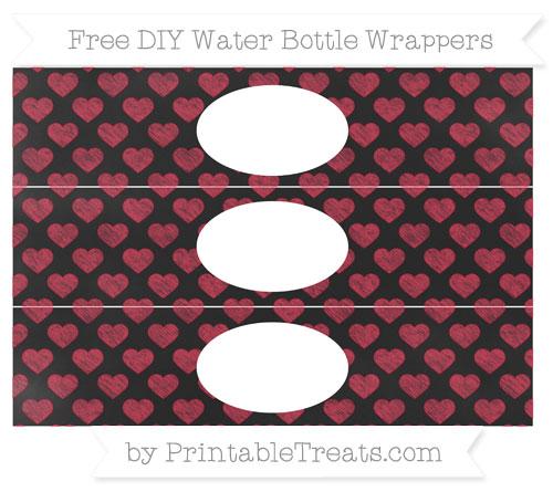 Free Cardinal Red Heart Pattern Chalk Style DIY Water Bottle Wrappers