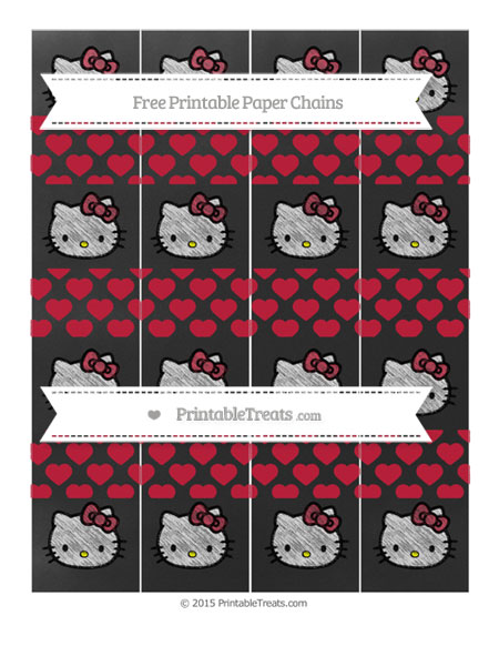 Free Cardinal Red Heart Pattern Chalk Style Hello Kitty Paper Chains