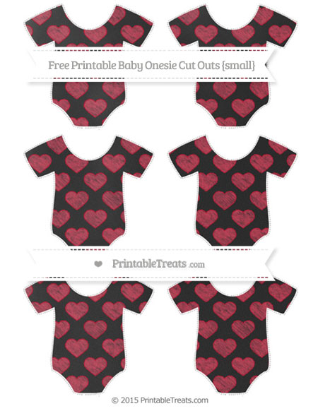 Free Cardinal Red Heart Pattern Chalk Style Small Baby Onesie Cut Outs