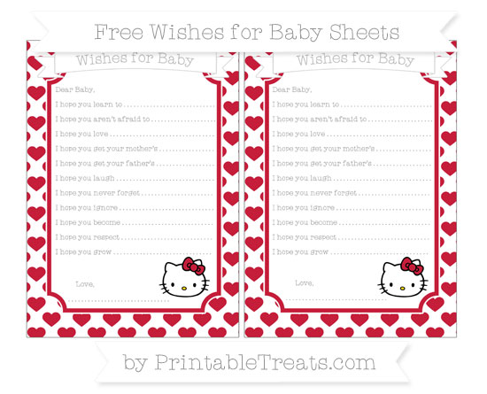 Free Cardinal Red Heart Pattern Hello Kitty Wishes for Baby Sheets