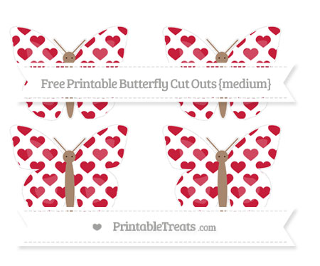 Free Cardinal Red Heart Pattern Medium Butterfly Cut Outs