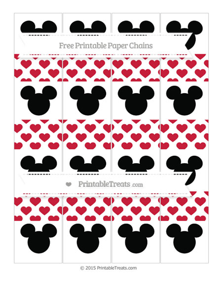 Free Cardinal Red Heart Pattern Mickey Mouse Paper Chains