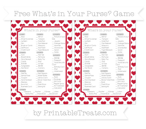 Free Cardinal Red Heart Pattern What's in Your Purse Baby Shower Game