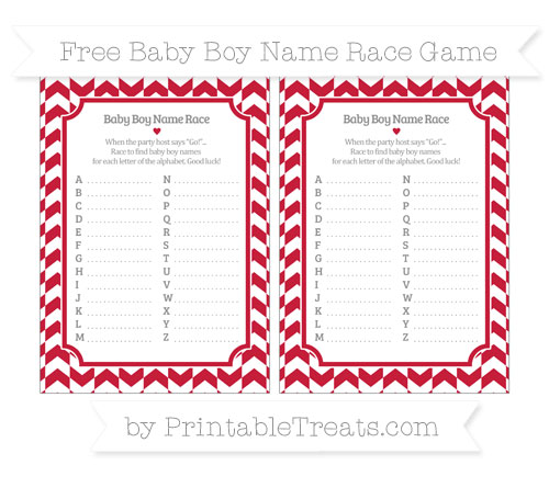 Free Cardinal Red Herringbone Pattern Baby Boy Name Race Game