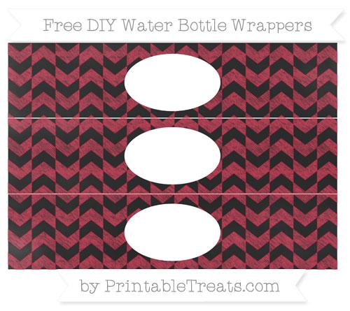 Free Cardinal Red Herringbone Pattern Chalk Style DIY Water Bottle Wrappers