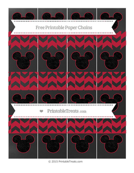 Free Cardinal Red Herringbone Pattern Chalk Style Mickey Mouse Paper Chains