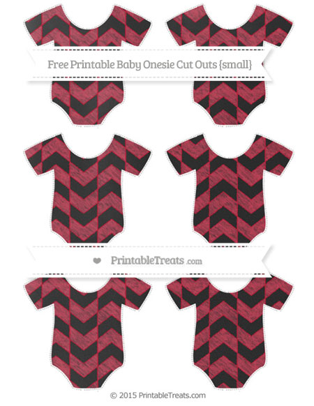 Free Cardinal Red Herringbone Pattern Chalk Style Small Baby Onesie Cut Outs