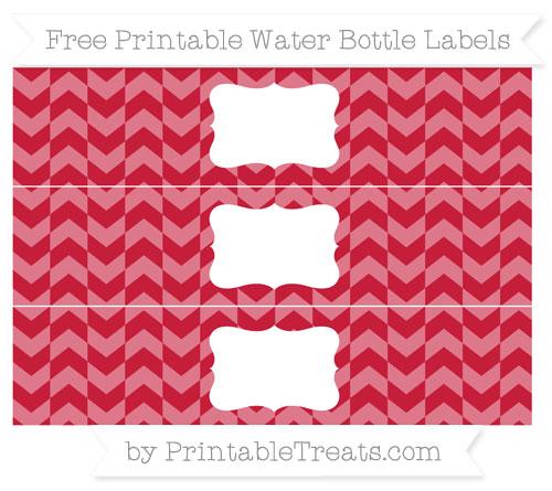 Free Cardinal Red Herringbone Pattern Water Bottle Labels