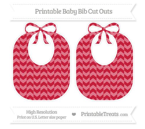 Free Cardinal Red Herringbone Pattern Large Baby Bib Cut Outs