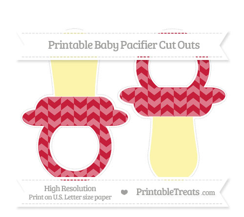 Free Cardinal Red Herringbone Pattern Large Baby Pacifier Cut Outs