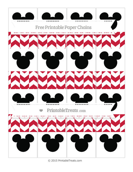 Free Cardinal Red Herringbone Pattern Mickey Mouse Paper Chains