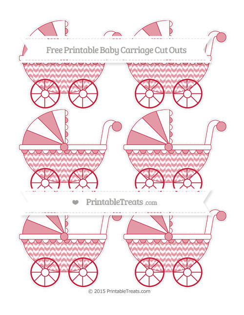 Free Cardinal Red Herringbone Pattern Small Baby Carriage Cut Outs
