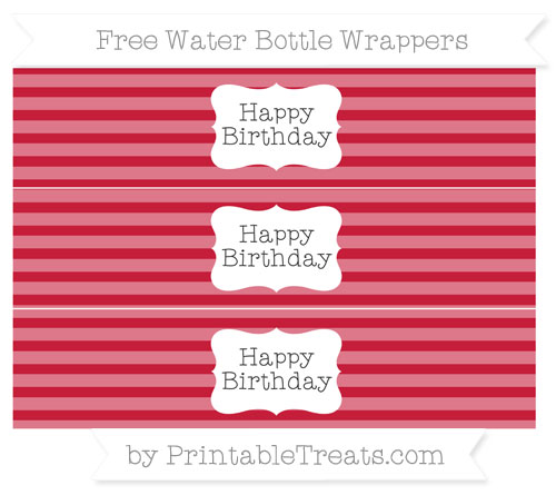 Free Cardinal Red Horizontal Striped Happy Birhtday Water Bottle Wrappers