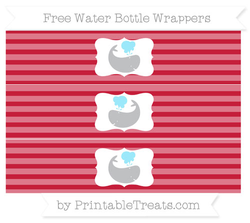 Free Cardinal Red Horizontal Striped Whale Water Bottle Wrappers