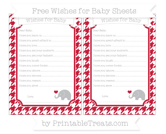 Free Cardinal Red Houndstooth Pattern Baby Elephant Wishes for Baby Sheets