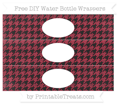 Free Cardinal Red Houndstooth Pattern Chalk Style DIY Water Bottle Wrappers