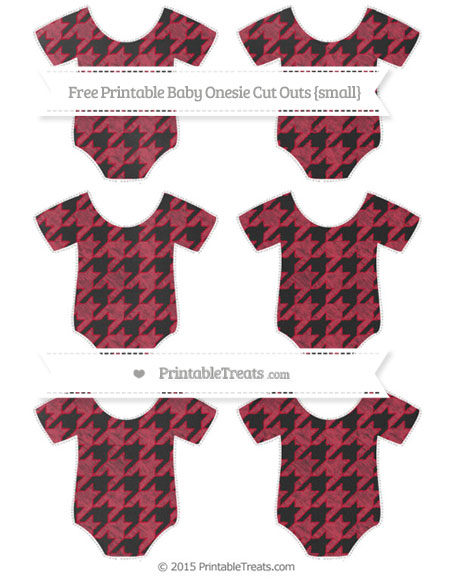 Free Cardinal Red Houndstooth Pattern Chalk Style Small Baby Onesie Cut Outs