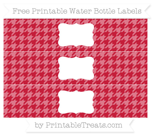 Free Cardinal Red Houndstooth Pattern Water Bottle Labels
