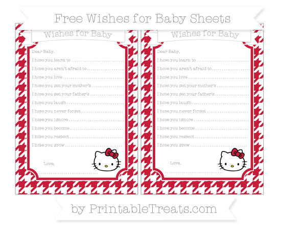 Free Cardinal Red Houndstooth Pattern Hello Kitty Wishes for Baby Sheets