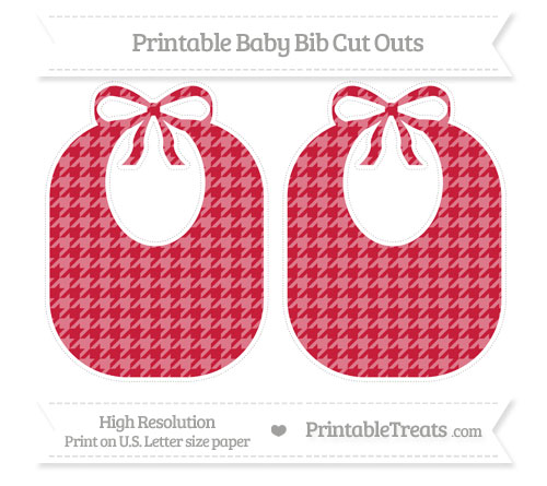 Free Cardinal Red Houndstooth Pattern Large Baby Bib Cut Outs