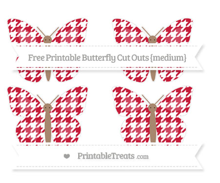 Free Cardinal Red Houndstooth Pattern Medium Butterfly Cut Outs