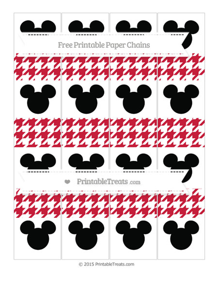 Free Cardinal Red Houndstooth Pattern Mickey Mouse Paper Chains