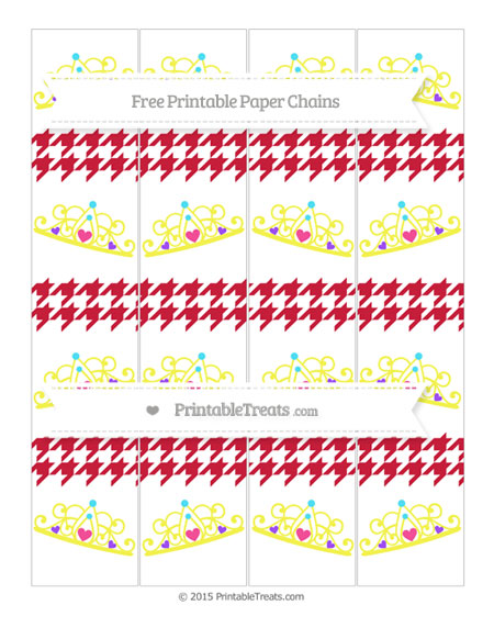 Free Cardinal Red Houndstooth Pattern Princess Tiara Paper Chains