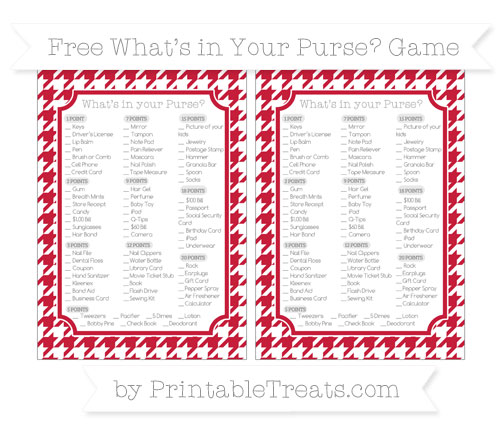 Free Cardinal Red Houndstooth Pattern What's in Your Purse Baby Shower Game