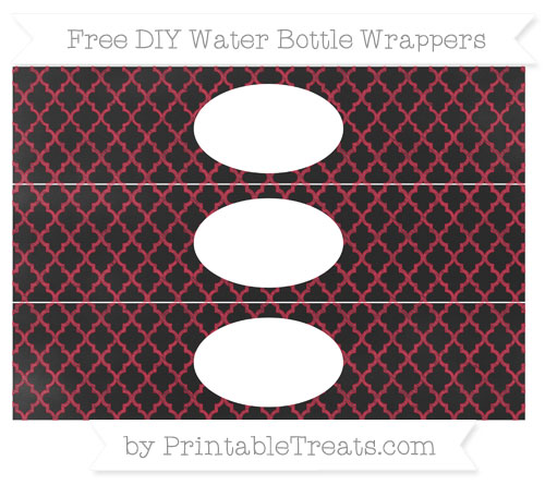 Free Cardinal Red Moroccan Tile Chalk Style DIY Water Bottle Wrappers