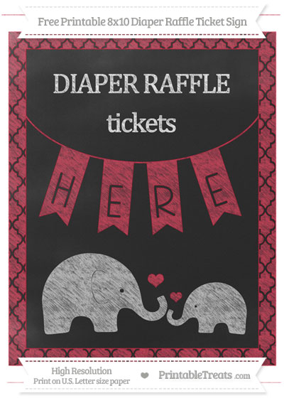 Free Cardinal Red Moroccan Tile Chalk Style Elephant 8x10 Diaper Raffle Ticket Sign